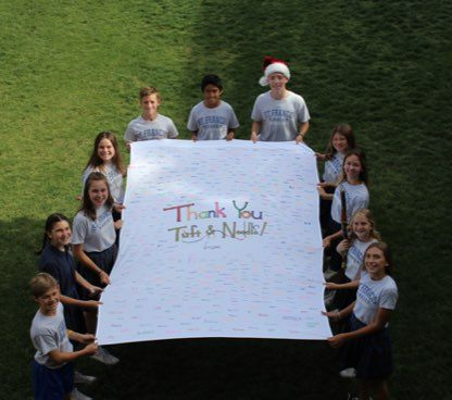 A thank you note from the kids at St. Francis Xavier School
